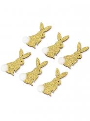 6 adesivi conigli oro con pon pon bianco