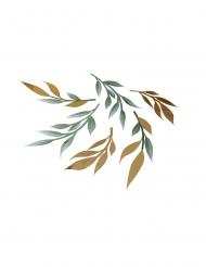 6 decorazioni da tavola foglie verdi e oro