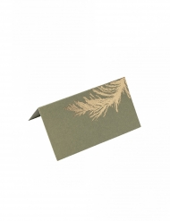 10 segnaposto in cartone foglie kaki e oro