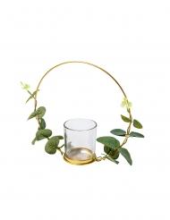 Cerchio in metallo oro con portacandele e eucalipto