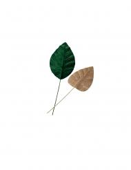 2 foglie di magnolia verdi e oro