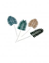 4 foglie di palma verdi con paillettes oro