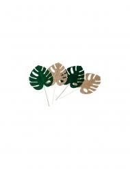 4 foglie tropicali verdi e oro