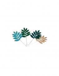 4 foglie di palma verde e oro a paillettes