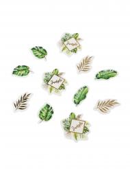 100 coriandoli da tavola tropicali avorio e dorati