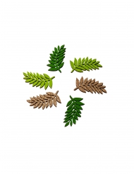 6 foglie di alloro in legno verde e oro