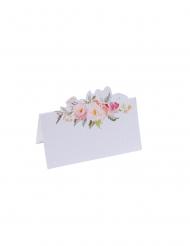 10 segnaposto in cartone bianco fiori acquerello