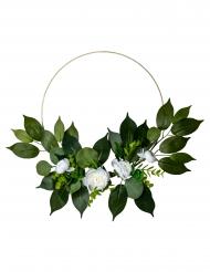 Corona di peonie bianche alloro e eucalipto