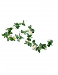 Ghirlanda artificiale di rose bianche e foglie