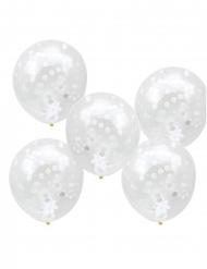5 palloncini in lattice trasparente con coriandoli bianchi