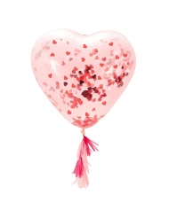 Palloncino in lattice trasparente cuore con coriandoli rossi