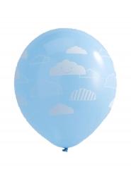 10 palloncini in lattice celesti e nuvolette bianche