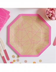 8 piatti in cartone geometrici kraft e rosa 25 cm