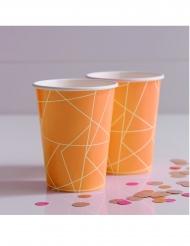 8 bicchieri in cartone geometrici arancione