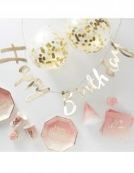 Kit decorazioni di compleanno rosa e oro 70 pezzi