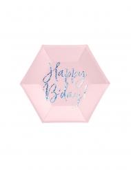 6 piatti rosa Happy Birthday iridescente 20 cm