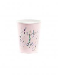 6 bicchieri rosa Happy Birthday iridescente