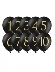 10 palloncini neri con numero da 1 a 10 oro