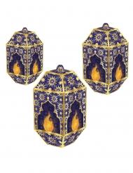 3 lanterne in carta Eid Mubarak blu e dorati