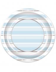 8 piatti a righe blu bianche e argento 23 cm