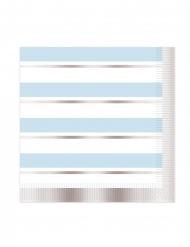 16 tovaglioli a righe blu bianche e argento