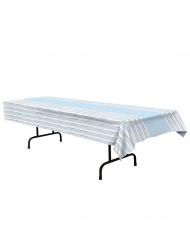 Tovaglia in plastica a righe blu bianche e argento