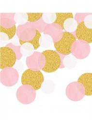 Coriandoli rotondi rosa e oro brillantini