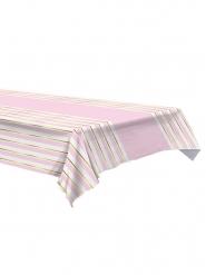 Tovaglia in plastica a righe rosa bianche e oro