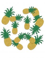 Coriandoli da tavola ananas dorate e verdi con brillantini