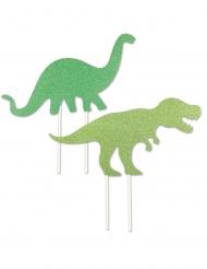 2 decorazioni per torta in plastica dinosauri