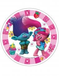 Disco di ostia rosa Trolls™ 21 cm