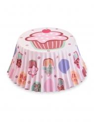 50 pirottini per cupcakes rosa con dolcetti