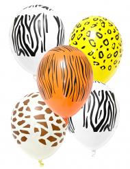 5 palloncini in lattice con stampe safari