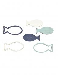 12 coriandoli da tavola pesci blu e bianchi