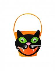 Cestino arancione con gatto nero