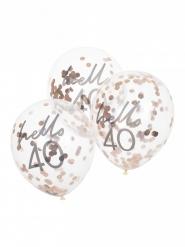 5 palloncini con coriandoli oro rosa 40 anni