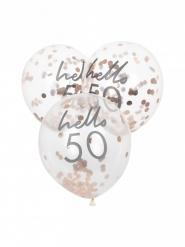5 palloncini con coriandoli oro rosa 50 anni