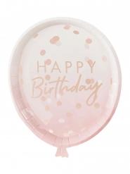 8 piatti in cartone palloncino rosa e oro rosa