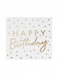 16 tovaglioli Happy Birthday bianco e oro