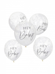 5 palloncini Hey Baby con coriandoli bianchi