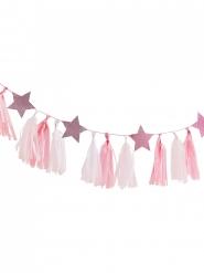 Ghirlanda di nappe rosa e bianche con stelle