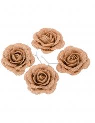 4 mini rose in tela di iuta