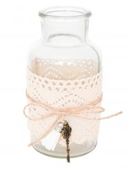 Mini bottiglia in vetro con pizzo e decorazioni