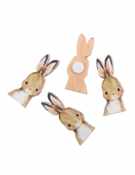 12 coriandoli in legno adesivi conigli
