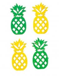 18 decorazioni ananas in legno verde e giallo