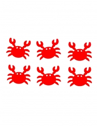 6 granchi rossi in legno adesivi