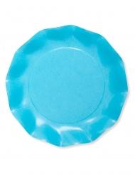 8 piatti in cartone compostabile turchese 27 cm