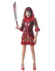 Costume da clown rosso terrificante per donna