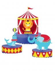 3 centrotavola di carta animali del circo