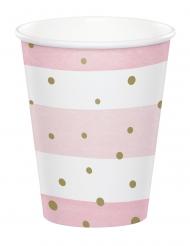 8 bicchieri in cartone rosa e bianchi pois oro